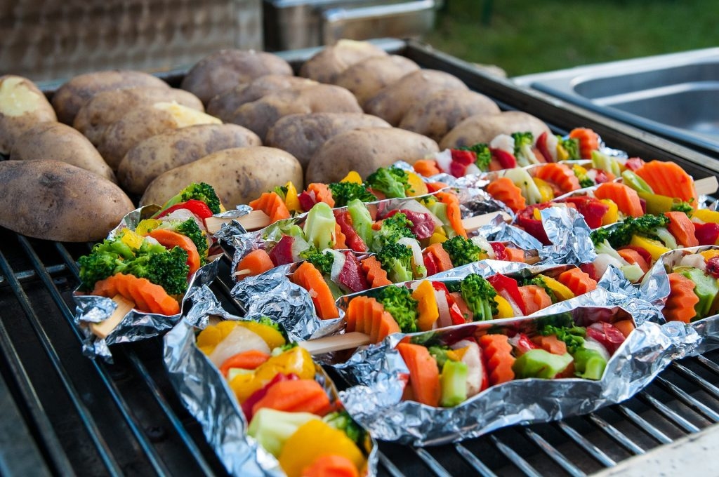 Churrasco Vegetariano: vegetais, legumes e frutas